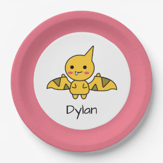 Cute Orange Dinosaur Cartoon Birthday Paper Plate