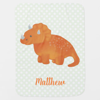 Cute Orange Dinosaur Watercolor Polka Dot Pattern Baby Blanket