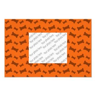 Cute orange dog bones pattern photo print