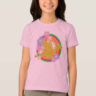 Cute Orange Dragon and Flowers T-Shirt