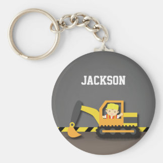 Cute Orange Excavator Construction Builder Boy Basic Round Button Key Ring