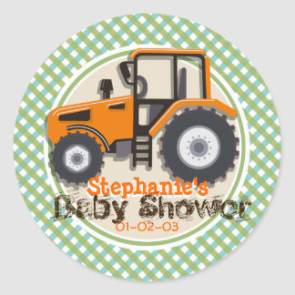 Cute Orange Farm Tractor; Green Plaid Baby Shower Round Sticker