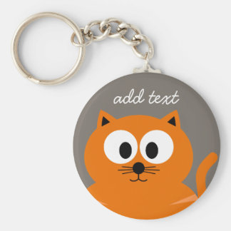 Cute Orange Fat Cat with Taupe Personalized Basic Round Button Key Ring