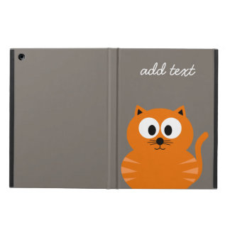 Cute Orange Fat Cat with Taupe Personalized iPad Air Covers