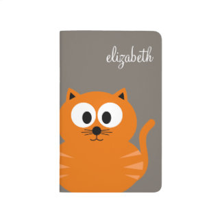 Cute Orange Fat Cat with Taupe Personalized Journal