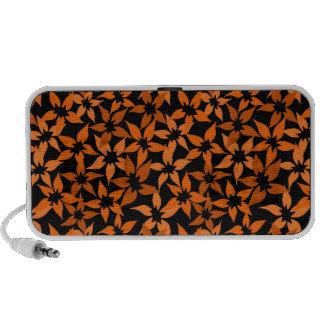 Cute Orange floral Doodle Speakers
