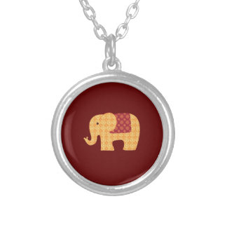 Cute Orange Flower Elephant on Red Silver Plated Necklace