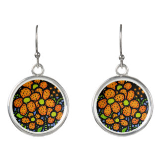 Cute Orange Flowers Earrings
