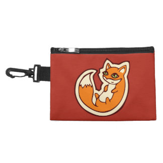 Cute Orange Fox White Belly Drawing Design Accessory Bags