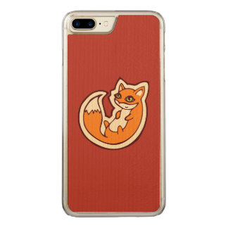Cute Orange Fox White Belly Drawing Design Carved iPhone 7 Plus Case