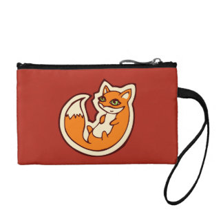 Cute Orange Fox White Belly Drawing Design Change Purse