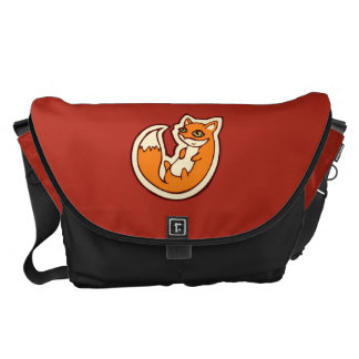 Cute Orange Fox White Belly Drawing Design Commuter Bags