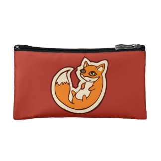 Cute Orange Fox White Belly Drawing Design Cosmetic Bags