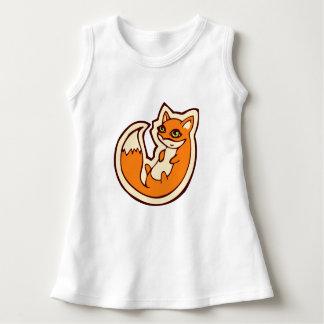 Cute Orange Fox White Belly Drawing Design Dress