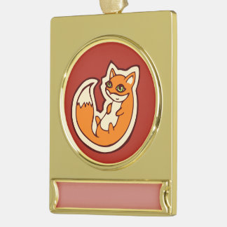 Cute Orange Fox White Belly Drawing Design Gold Plated Banner Ornament