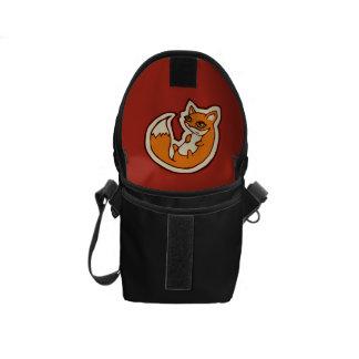 Cute Orange Fox White Belly Drawing Design Messenger Bag