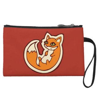 Cute Orange Fox White Belly Drawing Design Wristlet Clutches