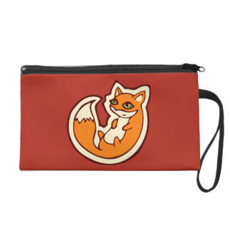 Cute Orange Fox White Belly Drawing Design Wristlets