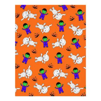Cute orange Frankenstein mummy pumpkins Flyers
