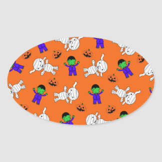 Cute orange Frankenstein mummy pumpkins Sticker