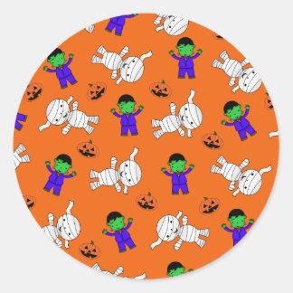 Cute orange Frankenstein mummy pumpkins Stickers