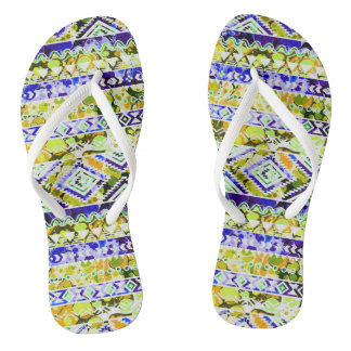 Cute orange green ethnic patterns design flip flops