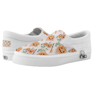 Cute Orange Halloween Pattern Slip-On Shoes