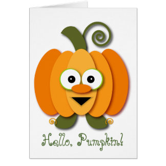 Cute Orange Hello Pumpkin Halloween Cartoon Card