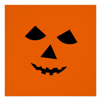 Cute Orange Jack o Lantern Pumpkin Face Halloween Poster