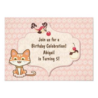Cute Orange Kitty Cat Birthday Invitation