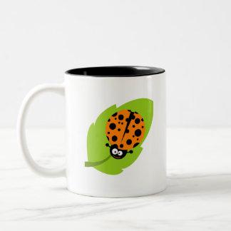 Cute Orange Ladybug Two-Tone Coffee Mug