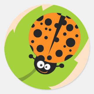 Cute Orange Ladybug Round Sticker