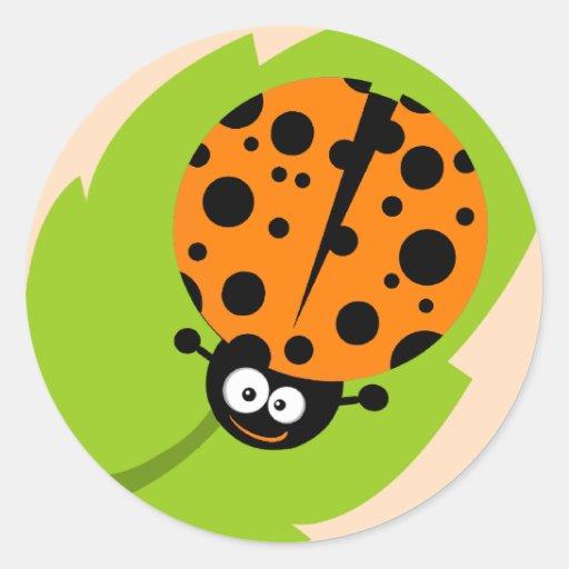 Cute Orange Ladybug Round Stickers