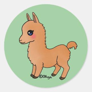 Cute Orange Llama Classic Round Sticker