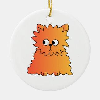 Cute Orange Long Hair Cat. Round Ceramic Decoration