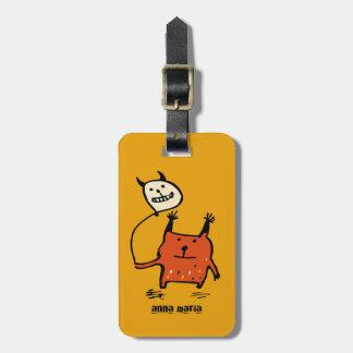 Cute Orange Monster Luggage Tag