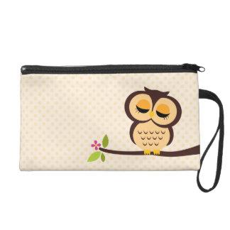 Cute Orange Owl Wristlet Purse