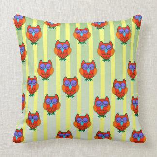Cute orange   owls seamless  pattern cushion
