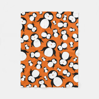 Cute orange penguin pattern fleece blanket