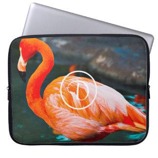 Cute orange pink flamingo photo custom monogram laptop sleeve