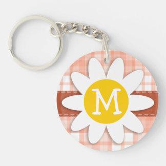 Cute Orange Plaid; Daisy Double-Sided Round Acrylic Key Ring