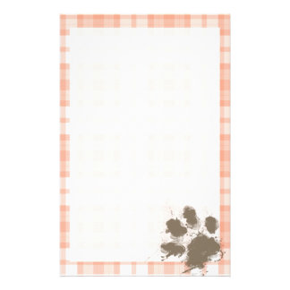 Cute Orange Plaid; Funny Dog Stationery
