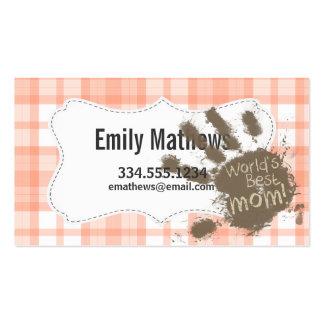 Cute Orange Plaid; Funny Mom Business Cards
