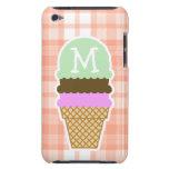 Cute Orange Plaid; Ice Cream Cone