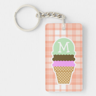 Cute Orange Plaid; Ice Cream Cone Double-Sided Rectangular Acrylic Key Ring
