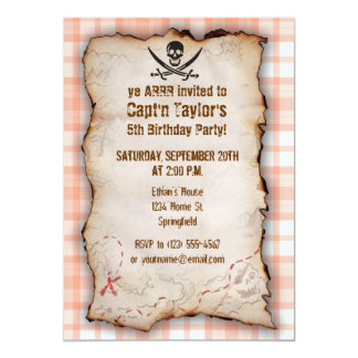 Cute Orange Plaid Jolly Roger Cards