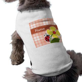 Cute Orange Plaid Ladybug Sleeveless Dog Shirt