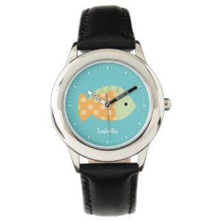Cute Orange Polka Dots Fish Kid's Personalized Watch