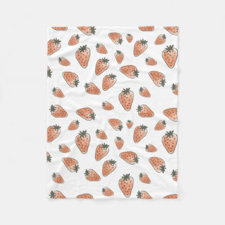 CUTE ORANGE RED WATERCOLOUR STRAWBERRIES FLEECE BLANKET