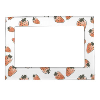 CUTE ORANGE RED WATERCOLOUR STRAWBERRIES MAGNETIC PICTURE FRAME